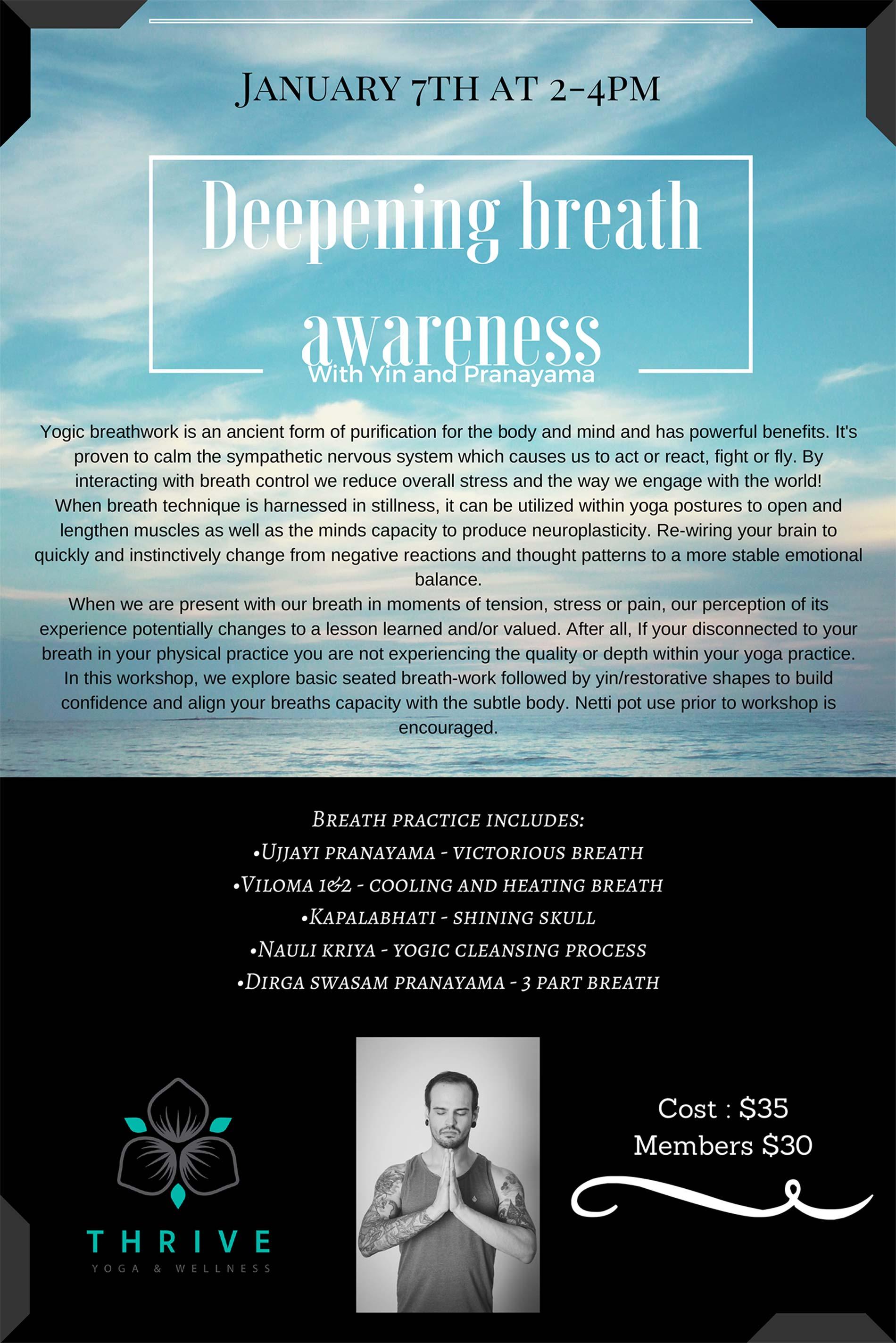 Deep Breath Workshop with Jordan Castellanos and Thrive Yoga